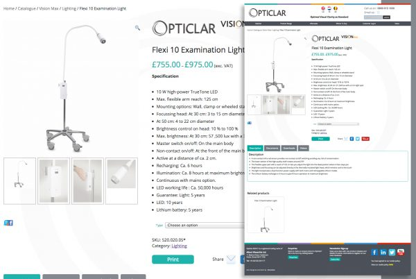 Opticlar product page